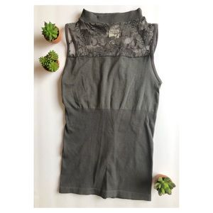Sexy Date Night Grey Lace Tank Top